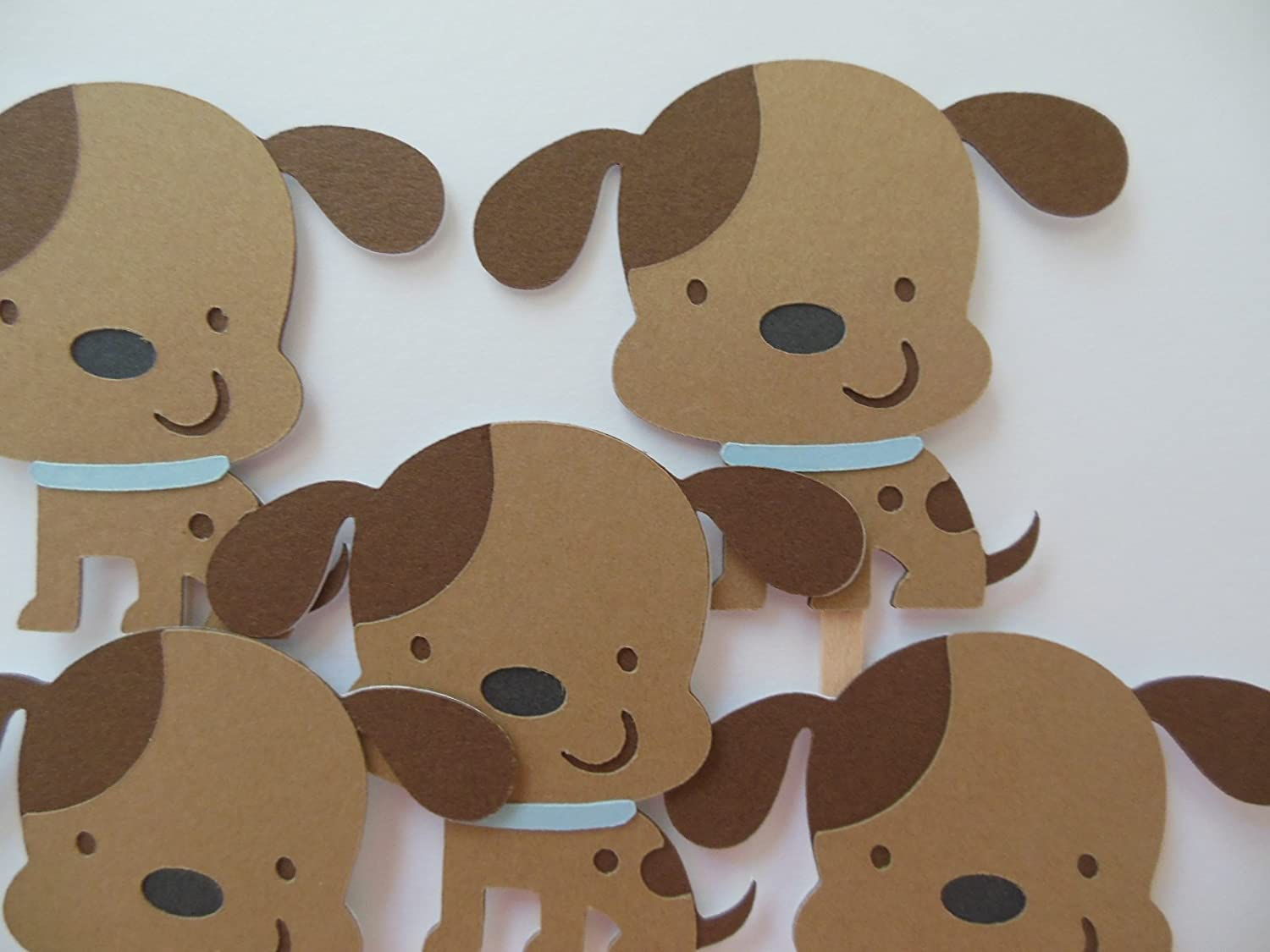 Puppy Dog Cupcake Toppers - Blue and Brown - Boy Birthday Party or Baby Shower Decorations - Set of 6