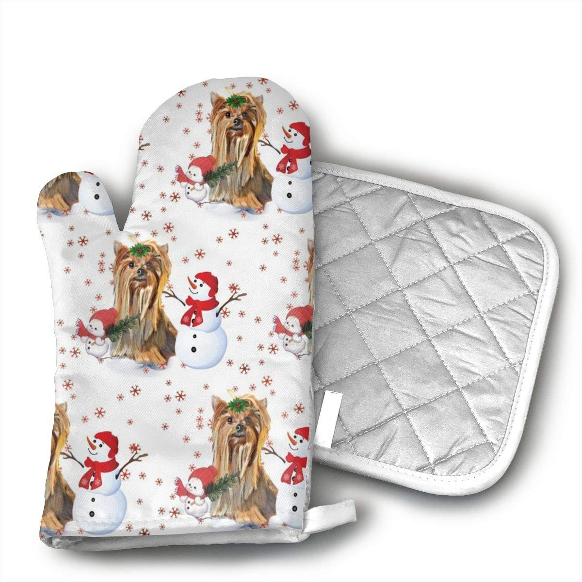 Sjiwqoj8 Yorkie and Snowman Kitchen Oven Mitts,Oven Mitts and Pot Holders,Heat Resistant with Quilted Cotton Lining,Cooking,Baking,Grilling,Barbecue