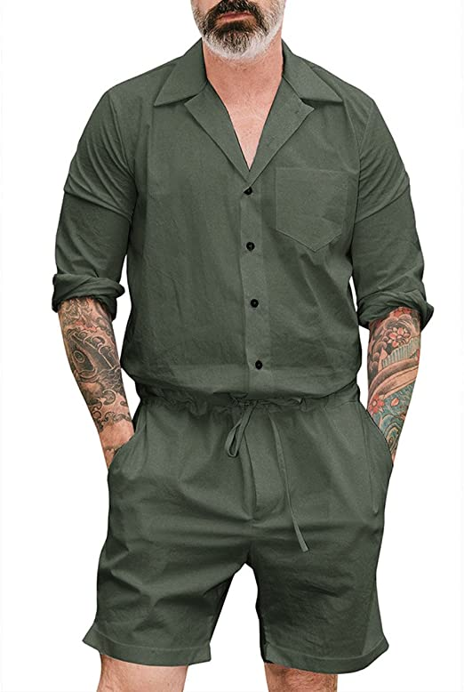 Nansiche Men S Short One Piece Jumpsuits Short Long Sleeve Casual One Piece Amazon Co Uk Clothing
