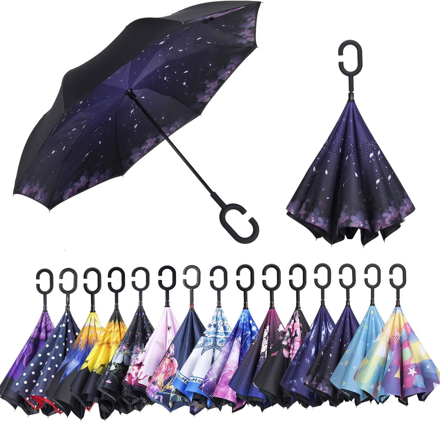 ONE PIECE Car Reverse Umbrella With C-Shaped Handle UV Protection Inverted Folding Umbrellas Windproof And Rainproof Double Folding Inverted Umbrella