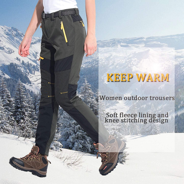 SUKUTU Pantalon de randonn/ée en Molleton imperm/éable pour Femmes Soft Shell Outdoor /Épaissir Sport Marche Pantalon descalade