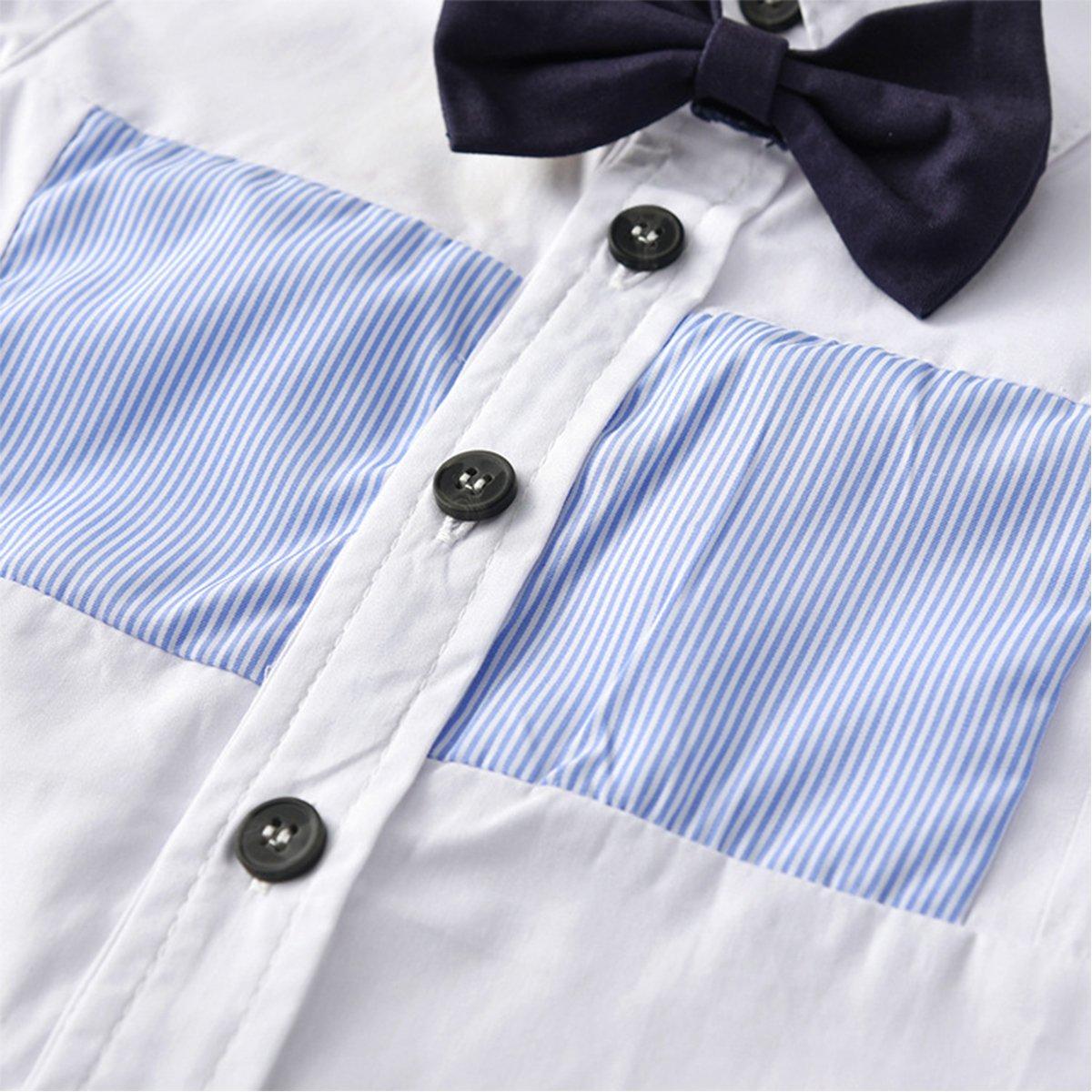 Toddler Kids Boys Gentlemen Suit Long Sleeve Shirt Tops Jeans Pants 2PCS Outfits Set