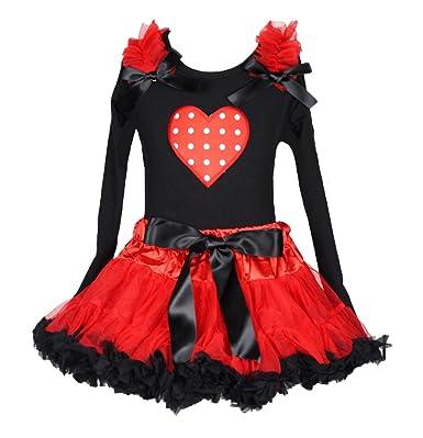 Saint Valentin robe à pois coeur Ensemble Jupe Noir L S en coton pour homme  Rouge noir 1-8Y  Amazon.fr  Vêtements et accessoires 232fe2287ca