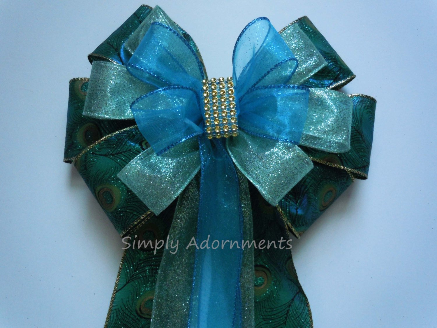 Peacock Wedding Pew Bow Peacock Wreath Bow Teal Blue Peacock Wedding Bow Peacock Blue Bow Peacock Gift Bow
