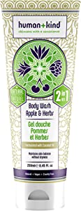 Human+Kind Body Wash - Nourishes Dry Skin with Coconut Oil - SLS-Free, Gentle Enough for Hair and Scalp - Natural, Vegan Skin Care - Apple and Herbs Scent - 8.45 fl oz