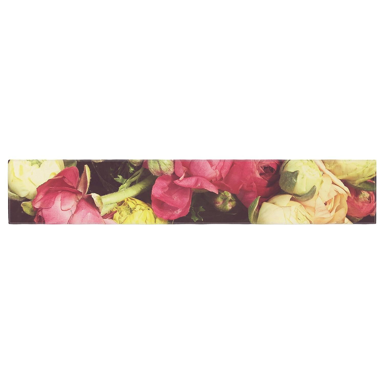 Kess InHouse JA1011ATR01 Jillian Audrey Ranunculus Pink Yellow Table Runner