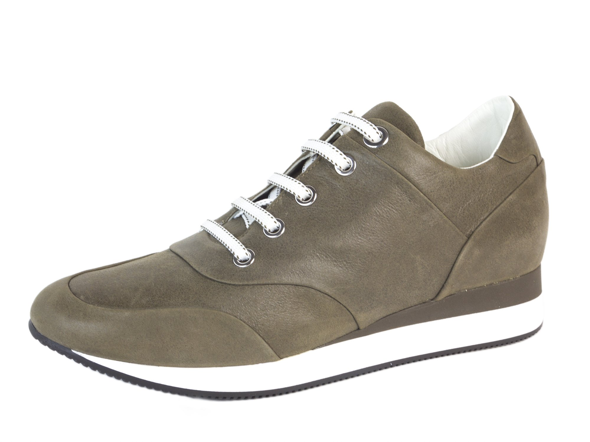 MaxMara Women's MM29 Leather Lace-up Sneakers US 7/IT 37 Khaki