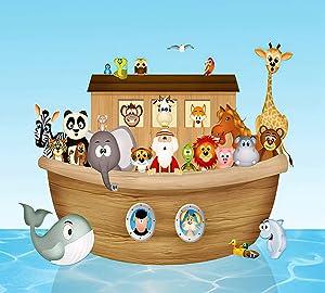 DIY 5D Diamond Painting for Adults Cat Whale Noah's Ark Cartoon Cute Animal Child Full Drill Round Diamond Home Wall Decor 12