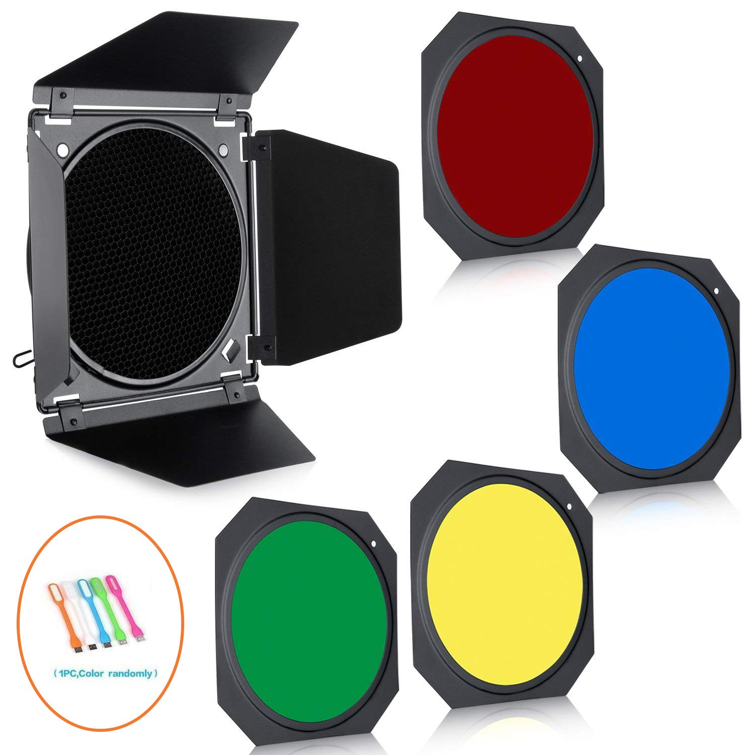 Godox BD-04 Barn Door & Honeycomb Grid & 4 Color Gel Filters for 7'' Standard Reflector with CONXTRUE USB LED by Godox