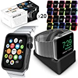 Watch Series 3 Pack, Orzly ULTIMATE PACK for Apple Watch Series 3 & Series 2 (42 MM) - Includes Orzly Compact Stand AND 20 FacePlates [Protective Apple Watch 3 Cases] in Assorted Colour Multi-Pack