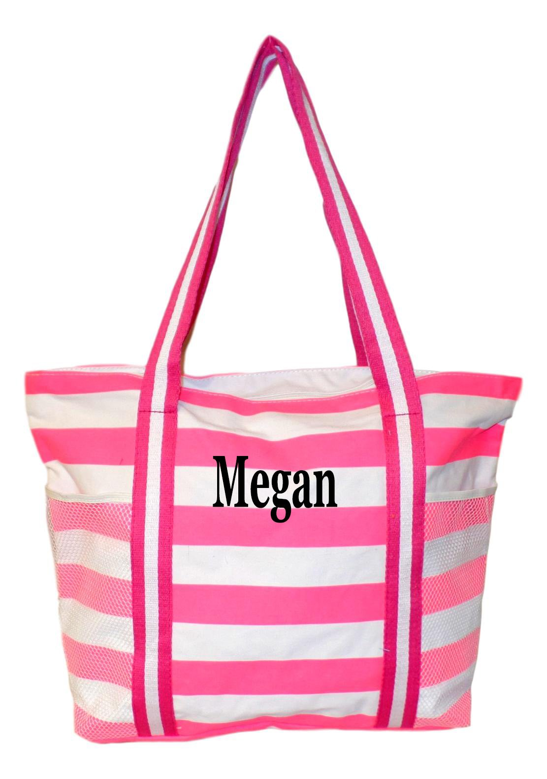100% Cotton Stripe X-Large Beach Bag (Pink Embroidered Name)