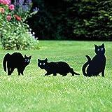 Parkland Pack of 3 Metal Cat (Bird, Animal,Fox, Pest) Scarers, Repeller, Rodent, Deterrent Garden