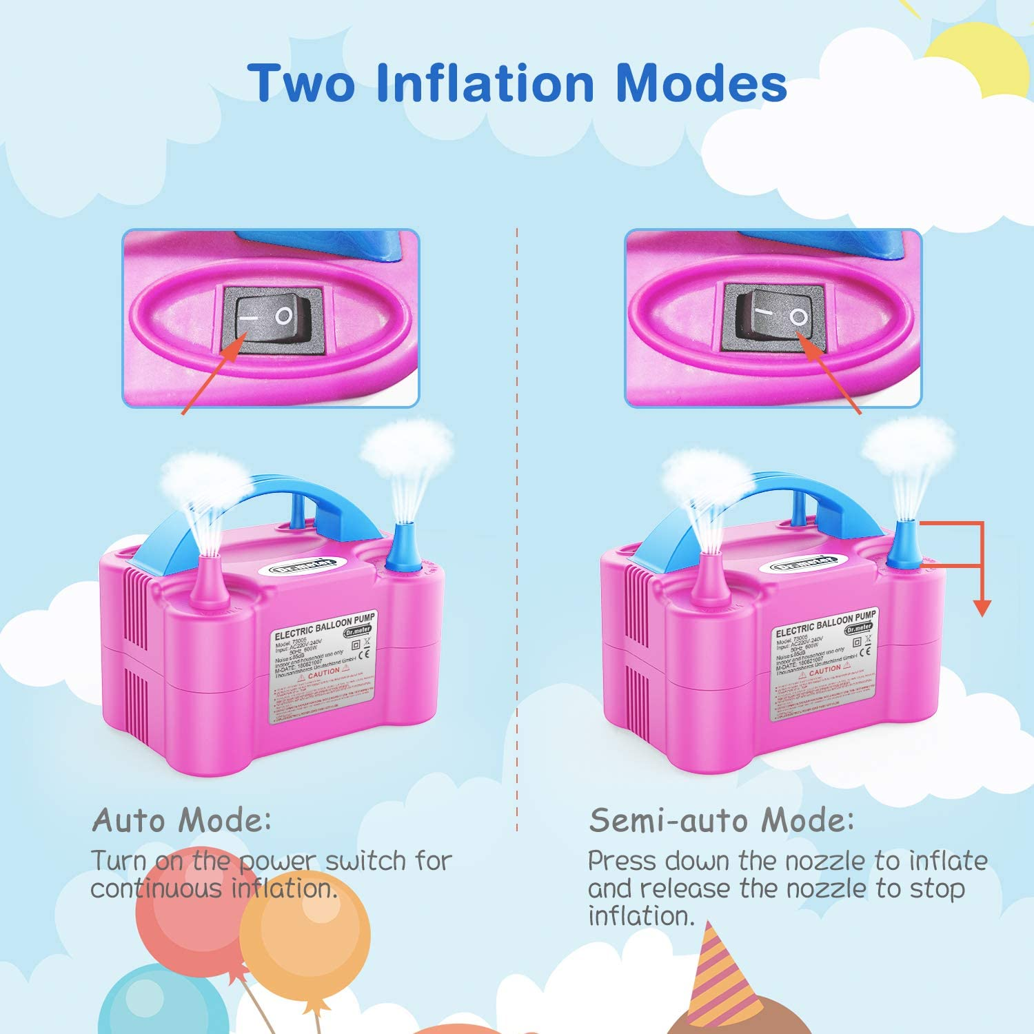 Balloon Air Pump, Dr.meter Electric Inflator Pump with Dual Nozzle Inflator Blower Portable Pump for Party, Wedding, Birthday, Promotional Activities and Festival Decoration(Pink+ blue