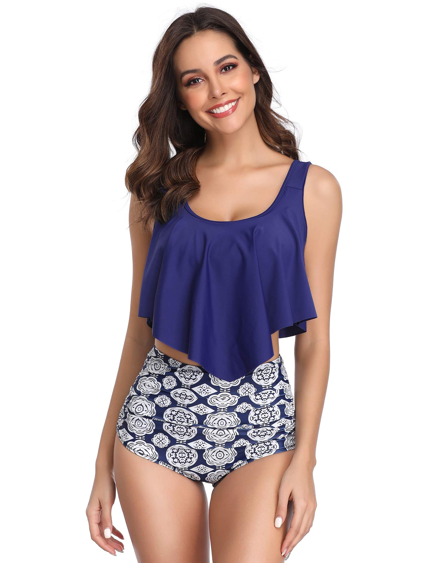 74c18331439 Galleon - MarinaVida Switmsuit For Women Two Pieces Bathing Suits Top  Ruffled Racerback With High Waisted Bottom Tankini Set Blue