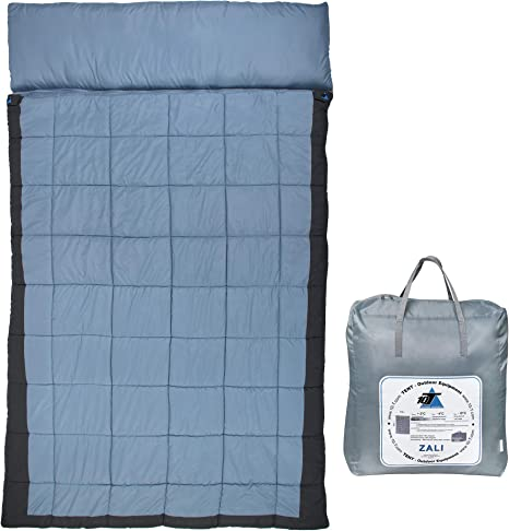 10/°-15/° Azzurro Outsunny Sacco a Pelo Matrimoniale 210x150cm 2 in 1 Impermeabile con Borsa da Viaggio Temperatura