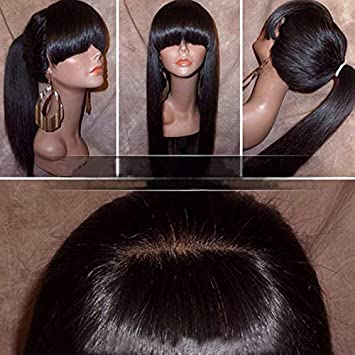 Silky Straight Lace Front Wig with Full Bangs