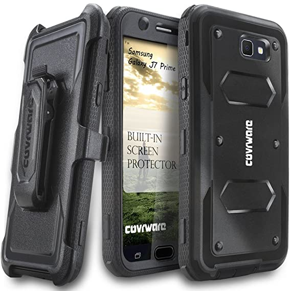 classic fit f3c98 53e6a COVRWARE Aegis Series Compatible with Galaxy J7 Prime/J7 Sky Pro/J7 Perx/J7  V 2017/J7 2017 Heavy Duty Full-Body Rugged Holster Armor Case with ...