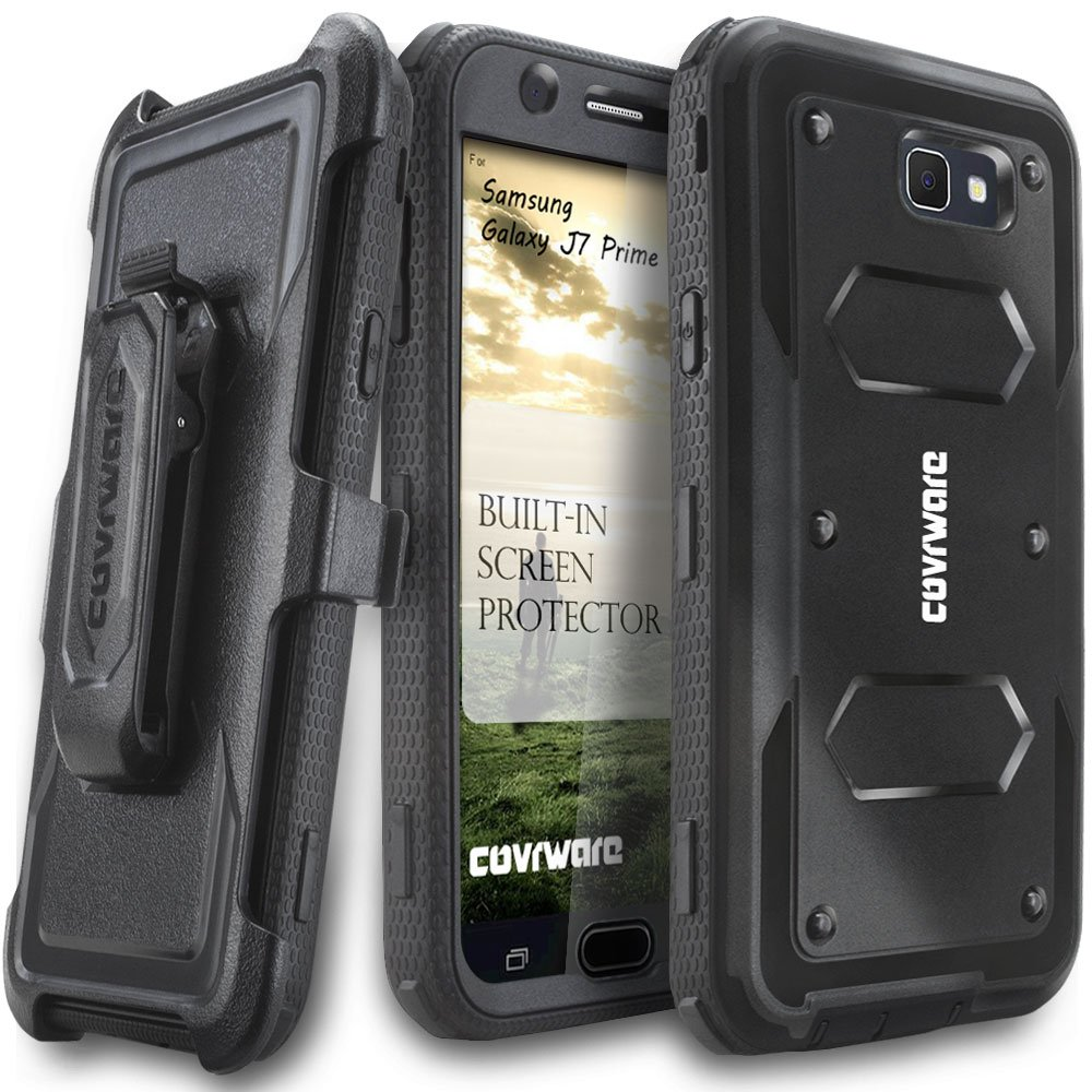 Samsung Galaxy J7 Prime/J7 Sky Pro/J7 Perx/J7 V 2017/J7 2017 Case, COVRWARE [Aegis Series] w/Built-in [Screen Protector] Heavy Duty Full-Body Rugged Holster Armor Cover [Belt Clip][Kickstand], Black