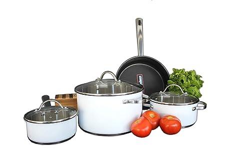 Bastilipo Zurich Batería de Cocina, Acero Inoxidable, Blanco, 24 cm, 7 Unidades