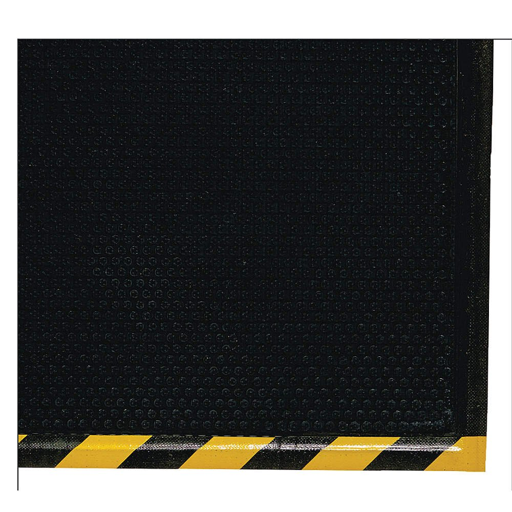 M+A Matting 476 Happy Feet Nitrile Rubber Grip Surface Anti-Fatigue Interior Floor Mat with Striped Yellow Border, 5' Length x 3' Width, 1/2'' Thick, Yellow Border