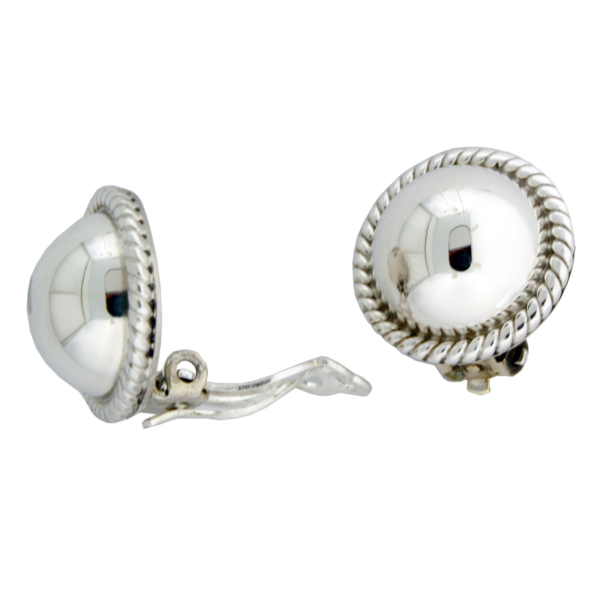 Sterling Silver 14mm Half Ball With Rope Edge Clip-on Earrings