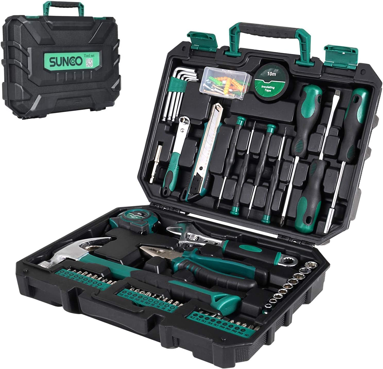 SUNCOO 100 Piece Home Repair Tool Set, General Household Hand Tool Kit, Screwdriver Hammer Wrench Plier with Plastic Tool Box Storage