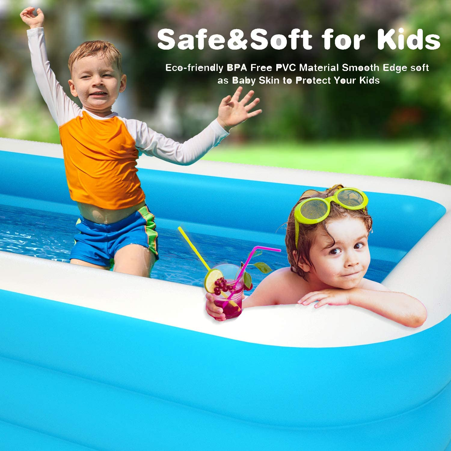 Swimming Pools Patio, Lawn & Garden Blow up Kiddie Pool for Family ...
