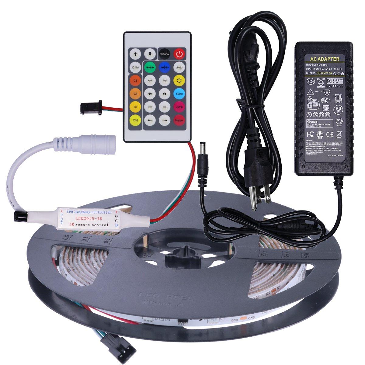 Mokungit WS2811 LED Strip Light 16.4ft 30 LEDs/m RGB DC12V White PCB Waterproof IP65 Digital Dream Color Addressable LED Strip with 24Key IR Remote Controller&12V 3A Power Supply