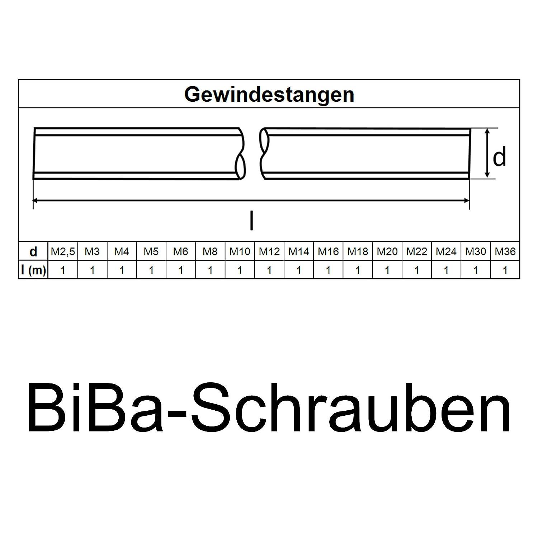 BiBa-Schrauben 1 Meter Gewindestange M12 1000 mm verzinkt 8.8 DIN 975 976 Gewindestift Gewindebolzen Stange