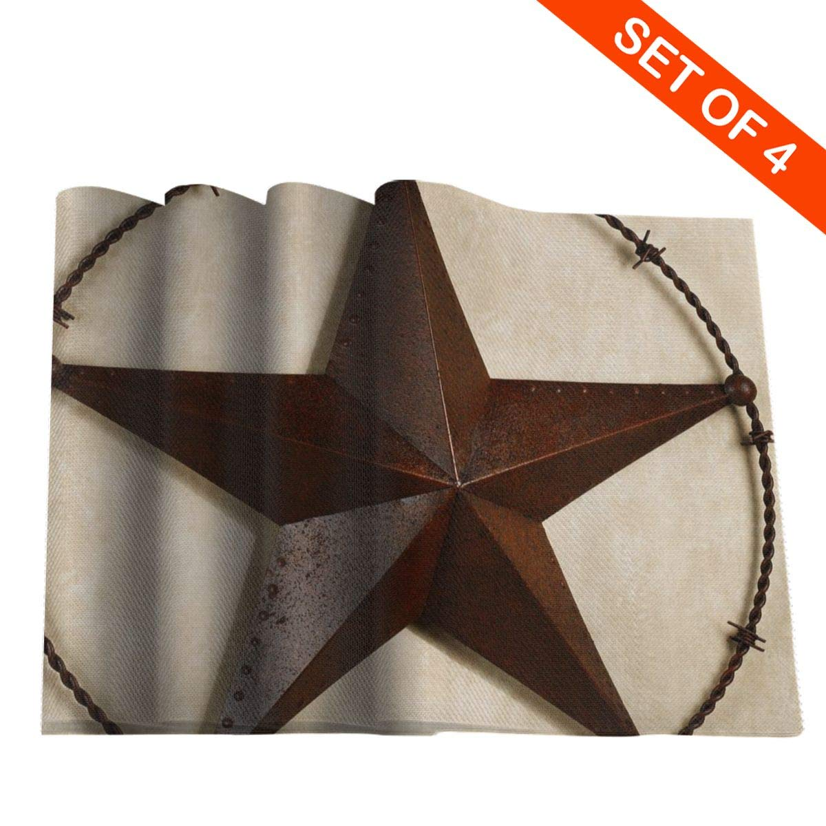 12X18 Inches GSRONY Rectangular Table Placemats Seashell Starfish Drift Bottle Grid Heat-Resistant Place Mats for Dining Table Set of 4