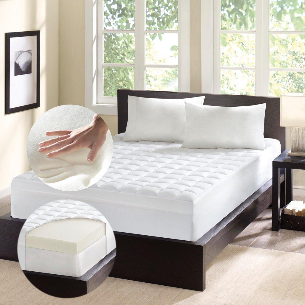 Comfort Classics Inc. LAF02-0227 4.5 Inch Thick Memory Foam Fiber Mattress Topper Beige Queen,