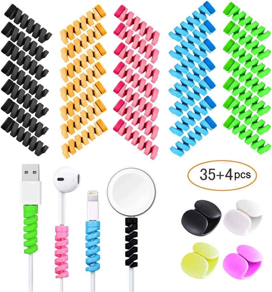 36 PCS Cell Phone Cable Protectors Assorted Spiral Charger Cord Savers for iPhone with 2 Desk Cable Clips, VIWIEU Silicone USB Wire Tube Cord Protector, Headphone Earphone Cable Ends Wrap Accessories