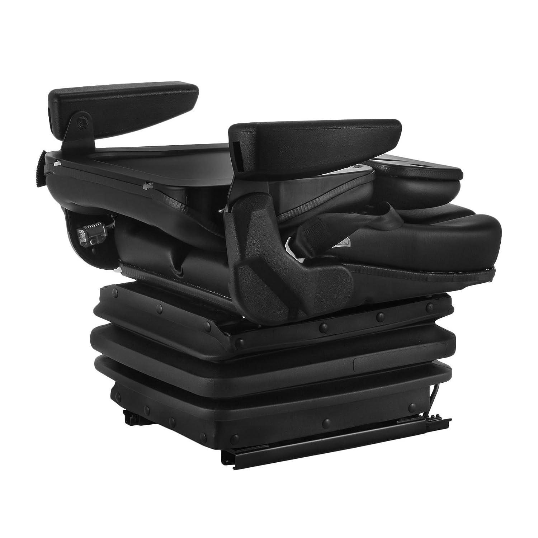 VEVOR Suspension Seat Adjustable Backrest Headrest and Slide Rails Mechanical Suspension Seat Foldable Heavy Duty for Tractor Forklift Excavator