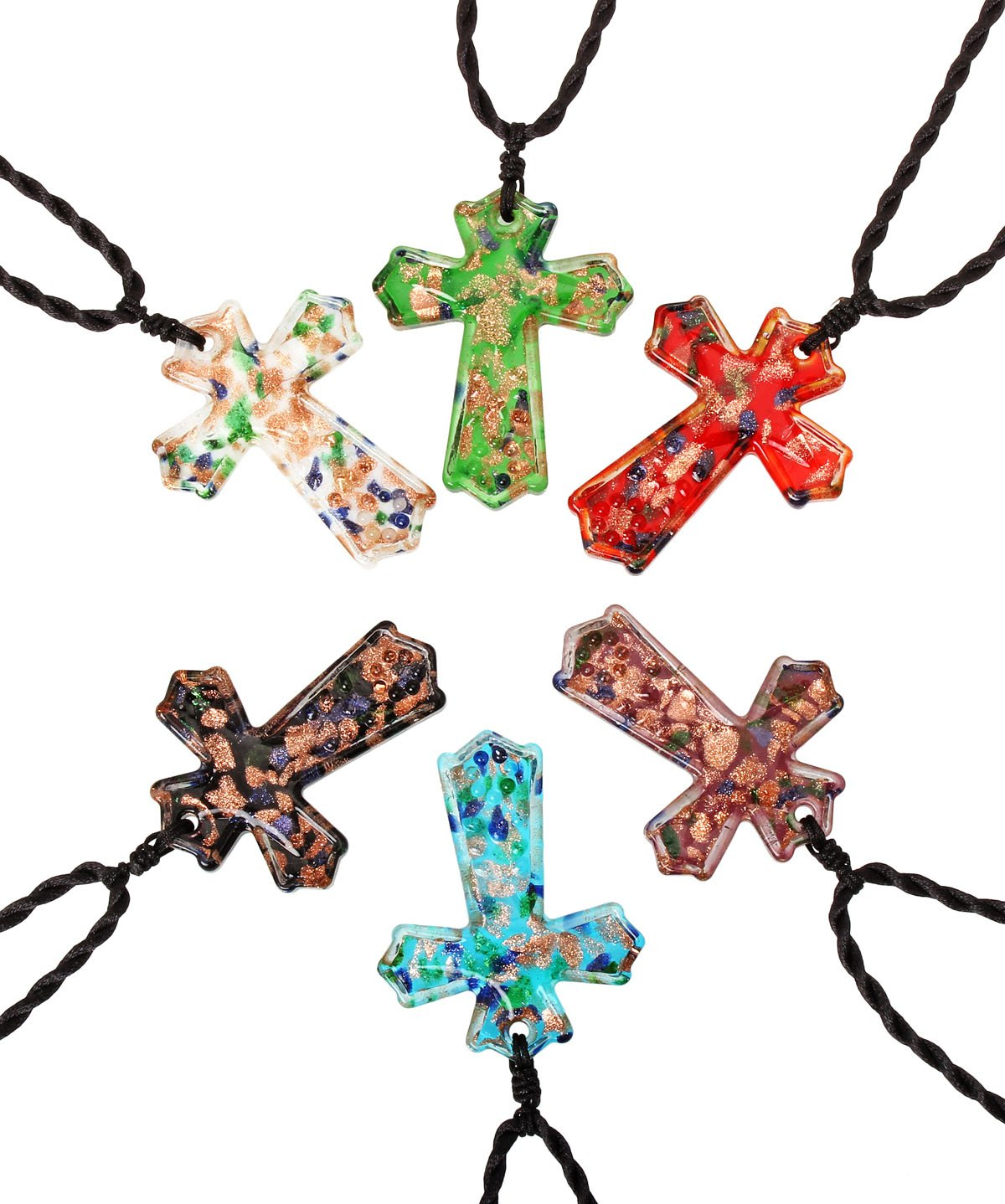 CCSC-PEC Colorful Cross Gold Dust Handmade Glass Pendant Necklace 6pc Set with 19.7'' Black Cord
