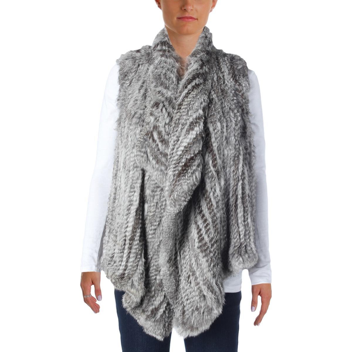 525 Made In America Womens Rabbit Fur Open Front Vest Gray S