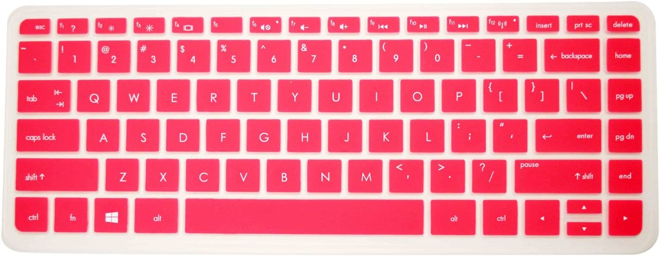 """PcProfessional Hot Pink Ultra Thin Silicone Gel Keyboard Cover for HP Stream 13 13.3"""" HP Stream 14 14"""" HP Split x2 13 ENVY 14"""" ENVY Touchsmart 14"""" Laptop with Application Kit (Please Compare Keyboard Layout and Model)"""