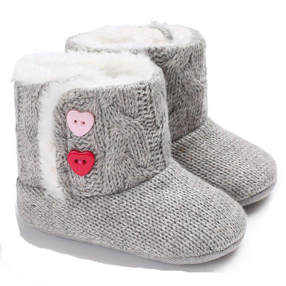 ONEs Baby Toddler Boy Girls Winter Knit Woolen Soft Warm Snow Boot Shoes 0-18 Months 0-6 Months, Grey