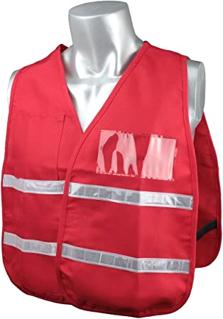 MCR Safety ICV204 Incident Command Polyester//Cotton Safety Vest with 1-Inch White Reflective Stripe Red