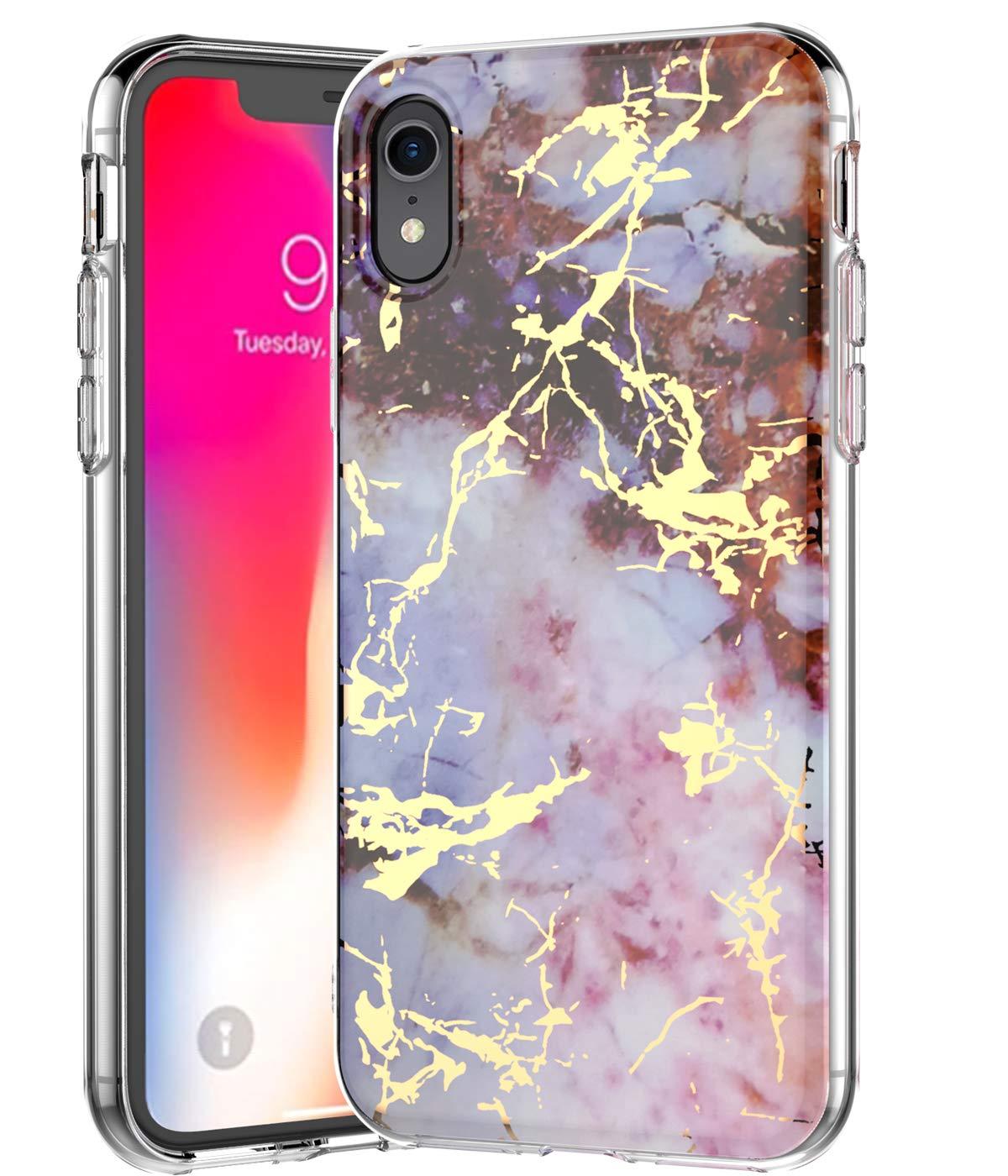 BSLVWG iPhone XR Coque, ultraplat, marbre Motif Pierre arrière Rigide Hybride TPU Souple Bords surélevés Fin Coque de Protection Coque antichocs pour iPhone XR 15,5cm