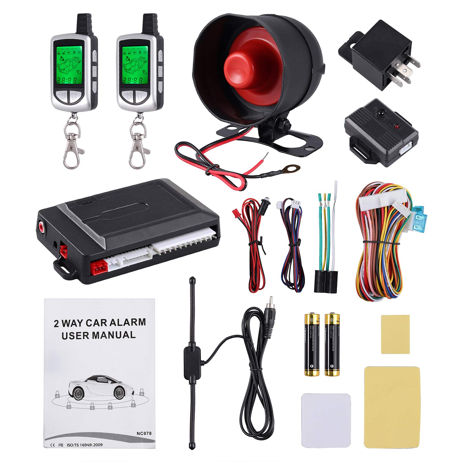 eSynic 2 Way Car Alarm Security System 12V Keyless Entry Ignition Push Button Starter Pager with Two Way LCD Remote Control Vehicle Security System Kit