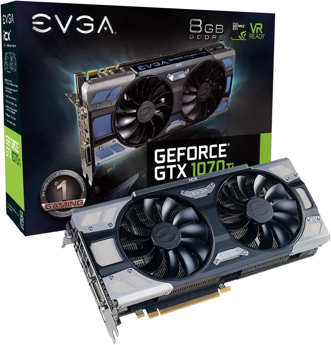 EVGA GeForce GTX 1070 Ti FTW2 GAMING, 8GB GDDR5, iCX Technology - 9 Thermal Sensors & RGB LED G/P/M, Asynch Fan, Optimized Airflow Graphics Card 08G-P4-6775-KR