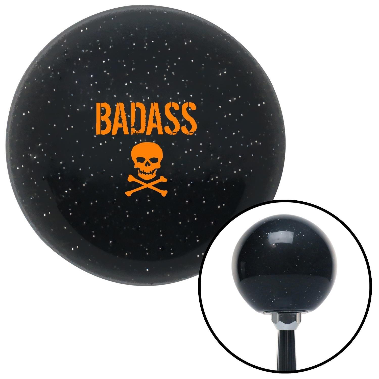 American Shifter 279311 Shift Knob Orange Bad Ass Skull Black Metal Flake with M16 x 1.5 Insert