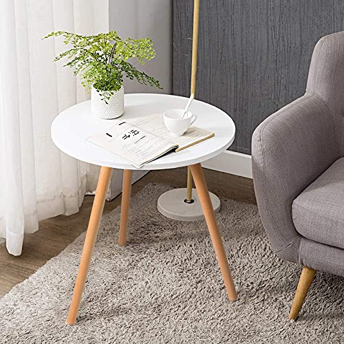 Haton Side Table, Round White Modern Home Decor Coffee Tea End Table for Living Room, Bedroom and Balcony, Easy Assembly 18.1 22.1 inches