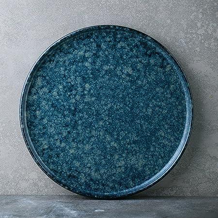 Chang Xiang Ya Shop Runde Flache Blaue Keramik Teller Besteck Tablett Italienische Obstsalat Teller Zuhause Fruhstuck Teller Steak Teller 24 Cm 9 Zoll Amazon De Kuche Haushalt