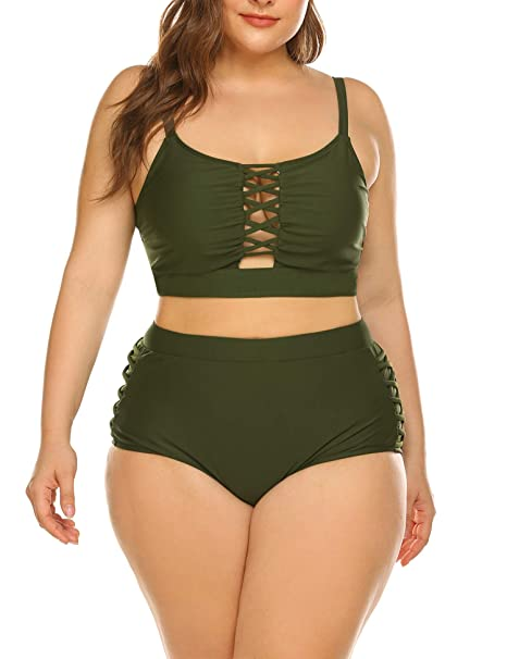 4f90c22e69 IN'VOLAND Women Plus Size Hollow Out Two Pieces Bikini Bathing Suit Swimwear  Army Green