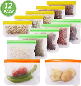 Reusable Storage Bags Zip Lock Leak Proof Freezer Bags BPA Free Recyclable Storage Bags for Food, Snack, Sandwich, Fruit, Travel Items and Stationery (12 Pack - 5 Sandwich 5 Snack 2 Gallon Bags)