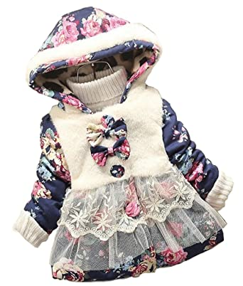 6bd2dff09 Amazon.com  Baby Girl Floral Bowknot Thickened Warm Jacket Winter ...