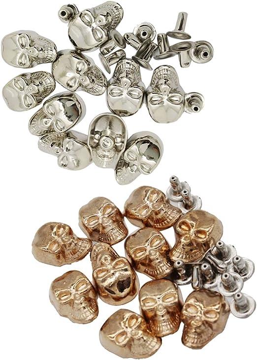 ropa de dise/ño zapatos accesorios de moda para cinturones de cuero Remaches met/álicos con cabeza de calavera de 11 mm trabajos de bricolaje bolsas paquete de 100 Weddecor