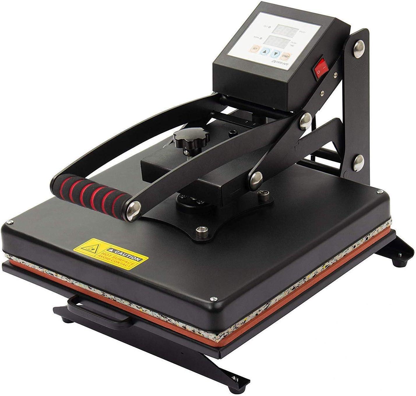 Display4top Prensa de Calor Maquina de Prensa de Calor Máquina de la sublimación de la transferencia de la prensa del calor de la camiseta, uso para industrial, profesional y casero (37.5cm x 37.5cm)