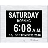 [Newest Version] Svinz Memory Loss Day Clock Digital Calendar with 3 Alarm Options, Mid or Low Auto Dimmable Display, Extra Large Non-Abbreviated Day & Month, SDC006 - Brushed Silver